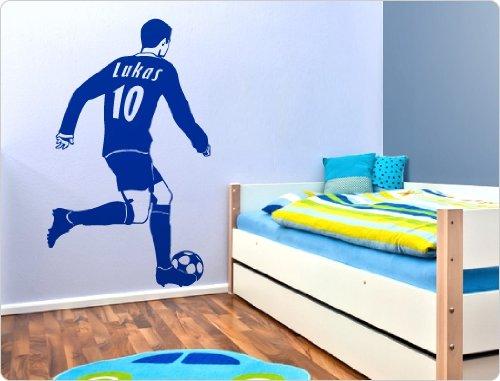 dekodino Wandtattoo Fußballer mit eigenem Namen und Trikotnummer Fußballmotiv Wandbilde
