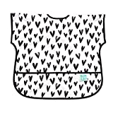 Bumkins Junior Bib / Short Sleeve Toddler Bib / Smock 1-3 Years, Waterproof, Washable, Stain and Odor Resistant -  Black Hearts