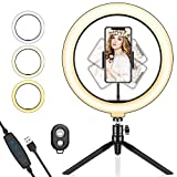 SYOSIN Ring Light with Tripod Stand and Phone Holder, 10.2'' LED Desktop Selfie Ring Light with Remote Control for Live Streaming YouTube Video Dimmable LED Makeup Ring Light with 3 Colors Mode