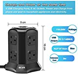 Tower Extension Lead, Vertical Power Strip with 6 sockets and 4 USB Ports, BEVA Multi Plug Charging Station with 2M Extension Cord for Home, Office, Black…