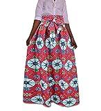 Oneforus Vestido de Cintura Alta con Falda Estampada Floral Africana para Mujer con cinturón