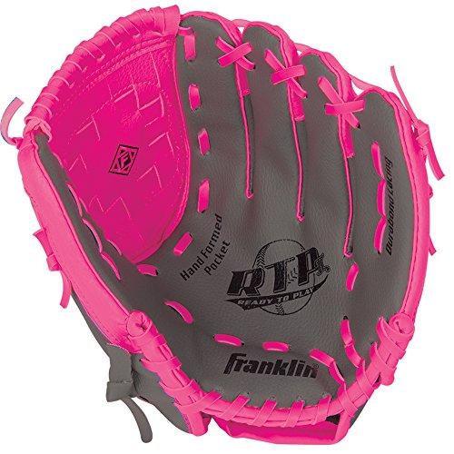 Franklin Sports RTP Teeball Performance Gloves, 10.5', Right Hand Throw, Graphite/Pink