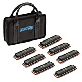 East top 7-Pack 10 Holes 20 Tones 008K Professional Diatonic Blues Harmonicas, 7 Keys Blues Harmonica for Adults with Black Case as Best Gift (7)