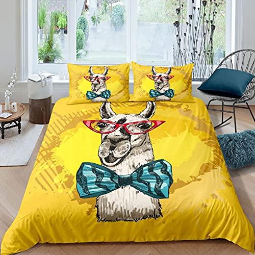 Loussiesd Lindo juego de ropa de cama Llama divertida Alpaca funda de edredón para niños niños adolescentes animales ropa de cama y ropa de cama de lino amarillo 3 piezas tamaño doble