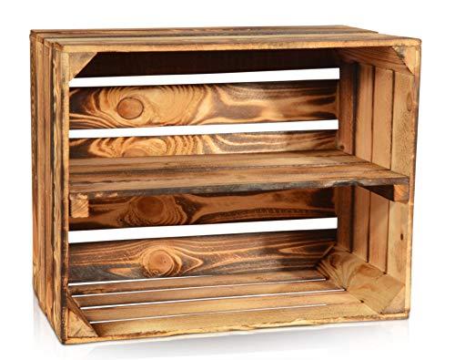 CHICCIE Geflammte Obstkisten - Verschiedene Größen Holzkisten Weinkisten Holz Kisten Apfelkisten Obstkiste Gebrannt (50 x 40 x 30cm mit Langer Ablage, 1)