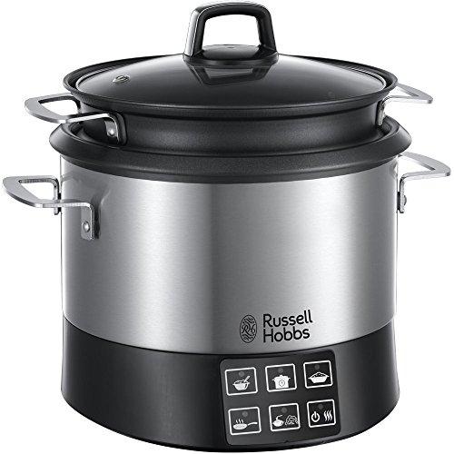 Russell Hobbs 23130-56 Cook Home Fornello Multifunzione, 8 programmi di cottura, Accessori da cucina, Coperchio anticondensa, 4.5L, 1000 Watt, Acciaio inossidabile / Nero