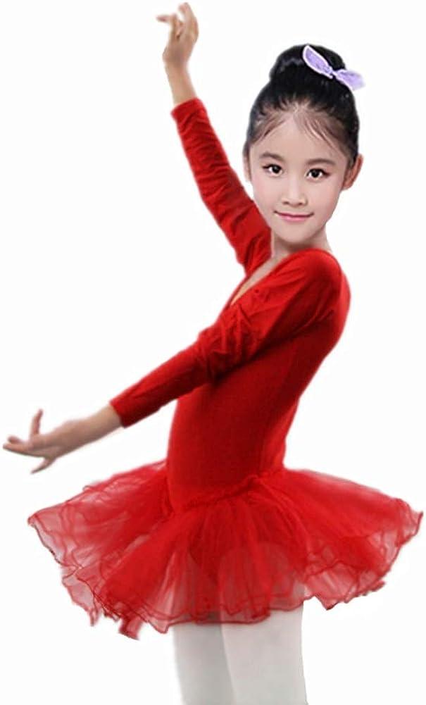 Miyanuby Gymnastic Leotards for Little Girls Long Sleeve V-Neck Dance Dress Tutu Ballet Dancewear Clothing 4-11 Years