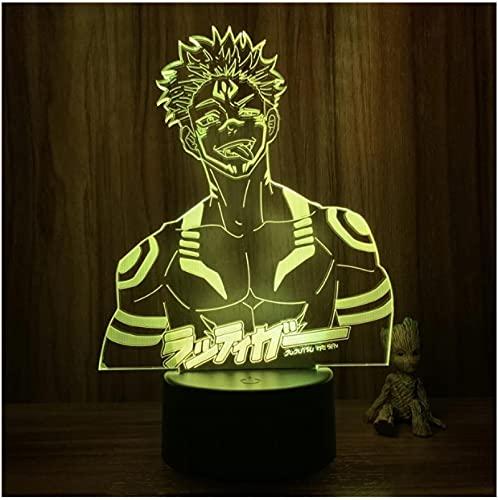 Luz nocturna 3D Anime Jujutsu Kaisen Ryomen Sukuna cuerpo malvado figura de acción 7 colores táctil ilusión óptica lámpara de mesa decoración de regalo