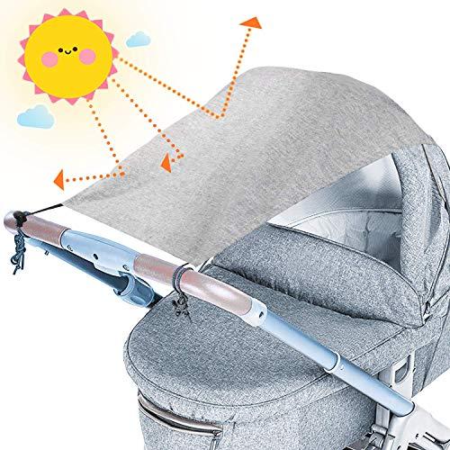 tEEZErshop Universal Sonnensegel für Kinderwagen mit UV Schutz Beschichtung 50+| Reißfester & waschbar Sonnenschutz | Markisen für Kinderwagen& Buggy mit Tasche(Hellgrau)