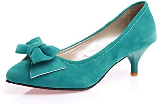 BalaMasa Womens Solid Mary-Jane Bows Urethane Pumps Shoes APL10619