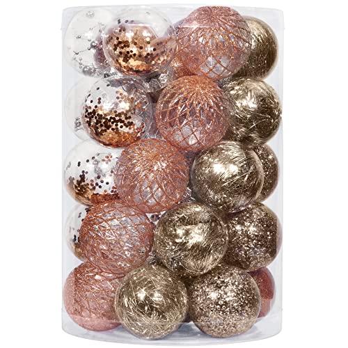 decorazioni natalizie oro e bianco YILEEY Decorazioni Albero di Natale 34 Colore Champagne Palle di Natale