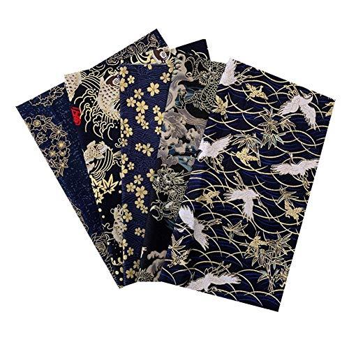 Brillie 5PCS Cuadrados de Retazos de Tela de algodón DIY para Coser, Tela de Retazos con patrón de Flores pequeñas Material de Estilo japonés para Coser, acolchar, 20x25CM