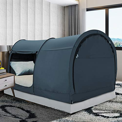 Bed Tent Dream Tents Bed Canopy Shelter Cabin Indoor Privacy Warm Breathable Pop Up Twin Size for Kids and Adult Patent Pending PitchBlack(Mattress Not Included)