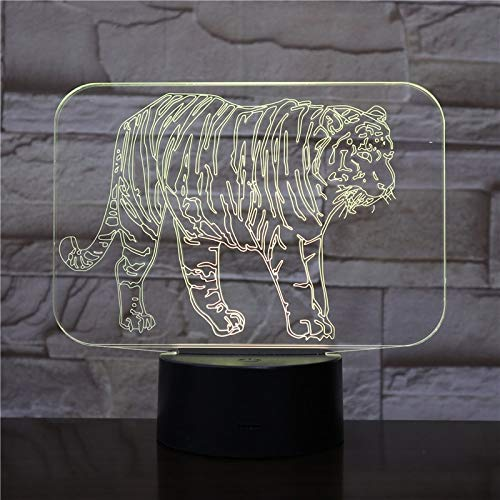 Colorful Three-Dimensional 3D Table lamp Tiger LED Acrylic with Remote Control Decoration | Small LED Table lamp, Smart Touch Light