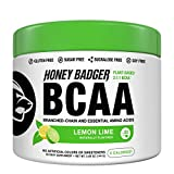 Honey Badger Vegan Keto BCAA + EAA Electrolyte Powder | Lemon Lime | Natural Gluten Free Amino Acids Essential Aminos Sugar Free + Sucralose Free | 30 Servings