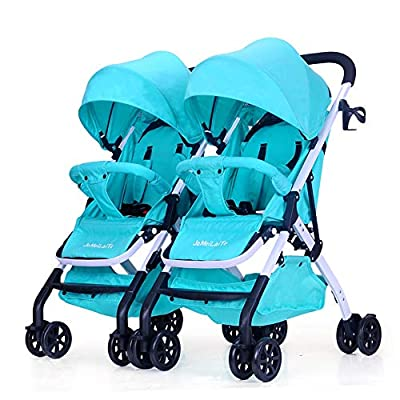 LIU UK Baby Stroller Cochecito de bebé Gemelo, Desmontable Ligero Suspensión Plegable Doble Carrito Infantil (Color : Linen Red)