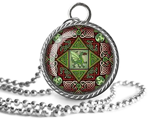Celtic Dragon Necklace, Labyrinth Image Pendant Handmade