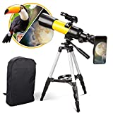 Telescope for Kids Astronomy Beginners, Portable Telescope Refractor 70/400mm HD Erect View, Come