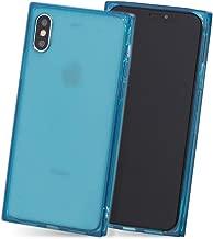 iPhone XR ケース ソフト スマホ ケース シンプル 四角 ストラップ Qi対応 カバー 青 「スクエアクリア」 iPhoneXR,3.ブルー