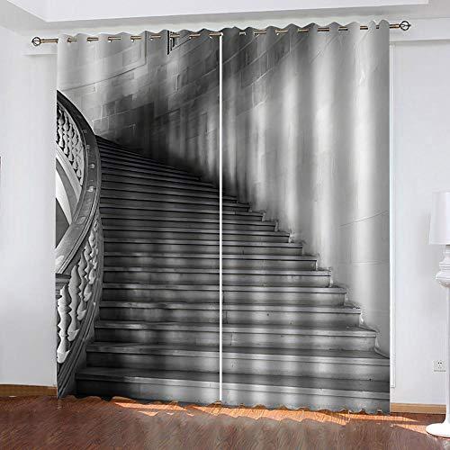 AXGTHQE Rideau Occultant À Oeillets Vista De La Escalera Dormitorio Infantil/Protección De La Privacidad con Cortinas De Aislamiento Térmico