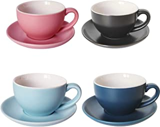 BPFY 4 Pack 6.7oz (200ml) Porcelain Cappuccino Cups with Saucers, Demitasse Cups, Ceramic Coffee cups for Drinks, Latte, Cafe Mocha and Tea