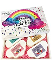 Rainbow Bath Bomb Gift Set - 4 Large 5oz Bath Bombs for Women w/Moisturizing Shea Butter and Natural Oils for Aromatherapy Relaxation Soak- Great for Christmas Gifts for her, Girls, Women and Kids