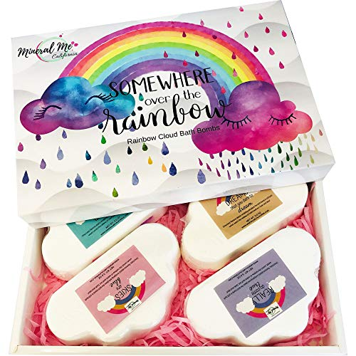 Rainbow Bath Bomb Gift Set of 4 - Bath Bombs for Women w/Moisturizing Shea Butter and Natural Oils for Aromatherapy Relaxation Soak- Gift for Her, Girls, Women and Kids