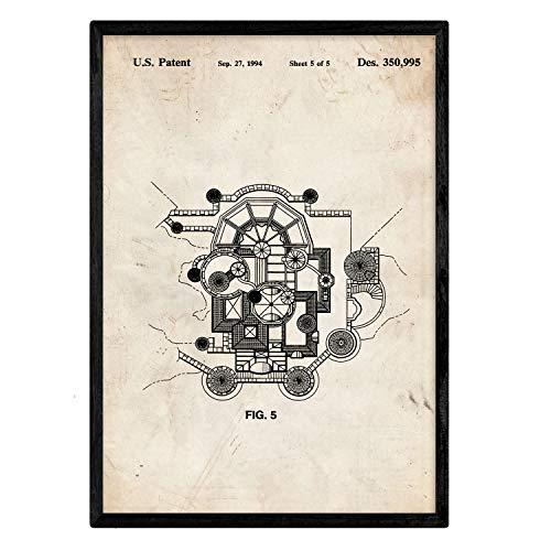 Nacnic Plant Poster Patent Disney Castle. Blad met oud designoctrooi op A3-formaat en vintage achtergrond