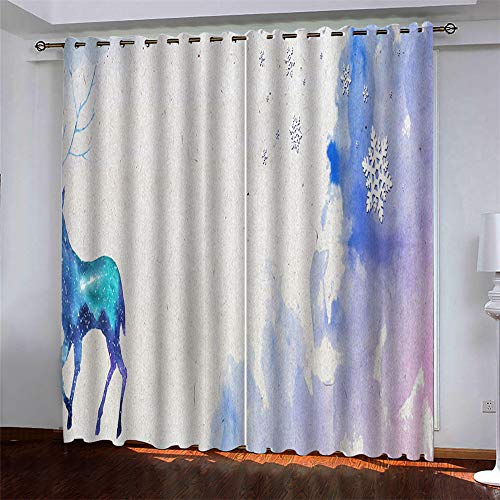 Modern And Simple Style Polyester Quick-Drying Curtains European 3D Dream Printing Free Perforated Bay Window Blackout Curtains For Bedroom, Living Room And Kitchen (2 Pieces)
