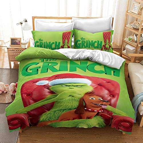 Meiju Microfiber Duvet Cover Set for Adult and Boys Girls, Christmas Elements 3D Printing Single Double King Size Bedding Set Easy Care Quilt Covers and Pillowcases (Grinch E,200x200cm)