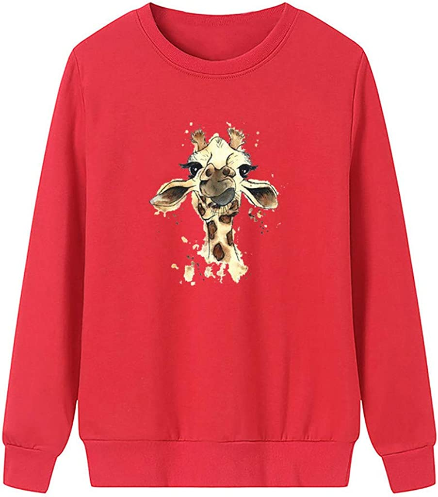 POTO Women Crop Tops Elk printing Pullover Sweatshirt Cround Neck T-Shirts Long Sleeve Casual Blouse Tops for womens