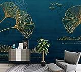 Papier Peint 3D Ligne De Feuille De Ginkgo Doré Minimaliste Papier Peint Panoramique Intissé Murales Moderne Decoration Murale