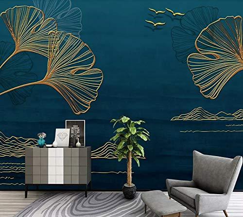 Papier Peint 3D Ligne De Feuille De Ginkgo Doré Minimaliste Papier Peint Panoramique Intissé Murales Decoration Murale
