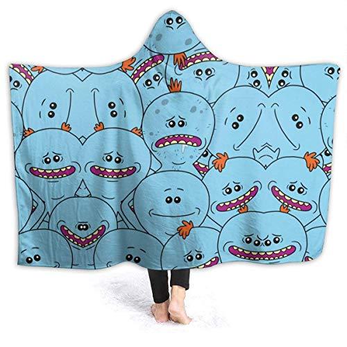 Mr Meeseeks - Manta de felpa para cabina grande, manta de viaje con capucha, manta de invierno, cálida, manta de tiro Sherpa para capa de oficina para campamento al aire libre, 50x60 pulgadas-CD
