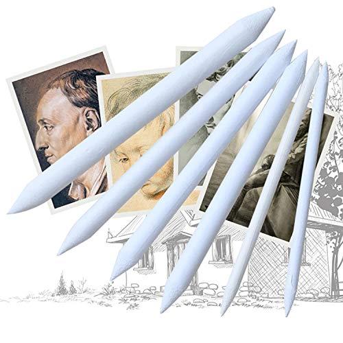 6 pcs/lot Mélange Smudge Stump Stick Sketch Art Blanc Dessin Pen Outil papier de riz taille unique blanc