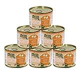 Dehner Fine Nature Katzenfutter Adult, Lebensmittelqualität, Kalb und Truthahn, 6 x 200 g (1.2 kg)