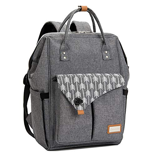 Lekebaby Nappy Changing Bag Backpack Baby Diaper Bag with Changing Mat for Mom and Dad, Arrow Print, Grey