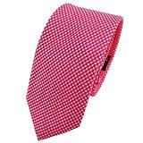 TigerTie - corbata de seda estrecha - rojo rojo fluorescente plata lunares