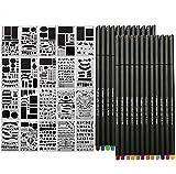 Set di 44 Stencil Journal e Penne Fineliner per Quaderni Colorati, Penne per Schizzi, Scrittura e Disegno, per Appunti, Libri Da Colorare