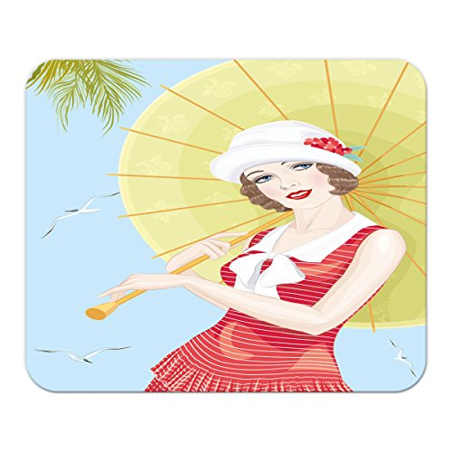Gaming Mauspad mit Fotodruck Mousepad 220 x 180 mm Rutschfest Schwarz Fransenfreier Rand Präzision Wand Küche Frau Sonnenschirm bedruckt