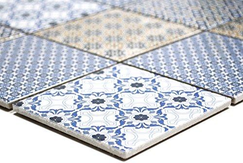 Mosaik Quadrat Classico mix Keramik, Mosaikstein Format: 98x98x5 mm, Bogengröße: 60 x 100 mm, 1 Handmuster ca. 6x10 cm