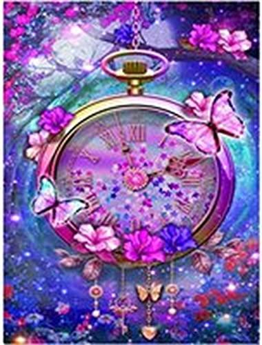 5D Pintura Diamante Kit de Taladro Completo Mariposa Reloj Adultos Crystal Rhinestone por Número Lienzo Punto de Cruz Bordado Diamond Painting Artesanía para la Decoración Pared del Hogar 30x40cm
