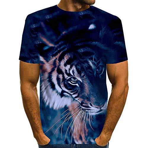 ZIXIYAWEI 3D Gedruckte T-Shirts Für Männer Dunkelblaues Tier Tiger Muster Herren T-Shirt Unisex 3D Gedruckt Sommer Casual Kurzarm T-Shirts T-Shirts-L