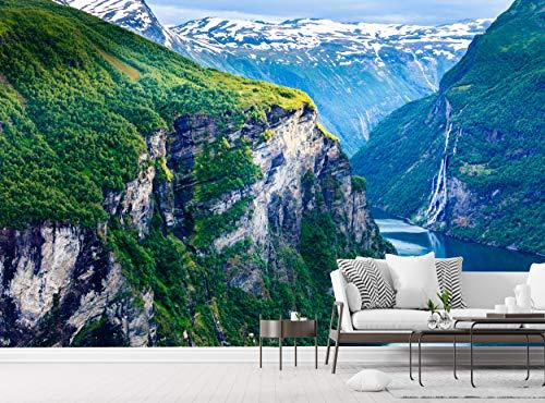 Fototapete Blick auf Norwegen Wand Wandbild Wanddekor B 366cm x H 254cm Tapete Murals Bild Riesen Papier Poster Gratis Kleister für Schlafzimmer Wohnzimmer Natur Berg Wasser