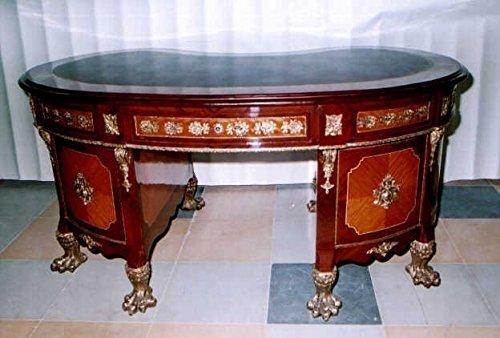 LouisXV MoSr0458Sk - Scrivania in Stile Barocco, Stile Anticato, in Legno Massiccio Replica antiquità faggio Ottone Anticato.