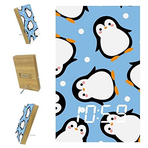 Despertador digital LED Reloj despertador multifunción LED con fuente de alimentación USB Control de voz Punto azul lindo pingüino 6.2 x 3.8 x 0.9 pulgadas