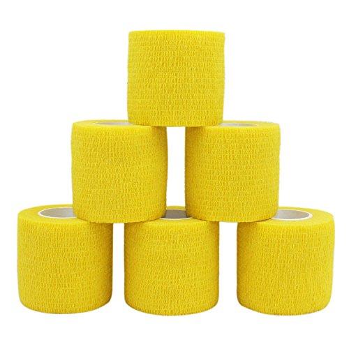 COMOmed selbstklebender verband elastische binde handgelenk bandage pflaster rolle Dog Bandagen Tierische Bandagen Gelb 5 cm X 6 Bände