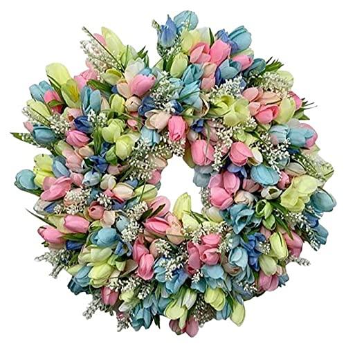 Daisy Rose Flower Wreath Guirnalda floral artificial hecha a mano para la pared de la puerta principal Corona artificial Corona de Pascua Corona colgante Corona de ramitas Corona de hojas verdes de