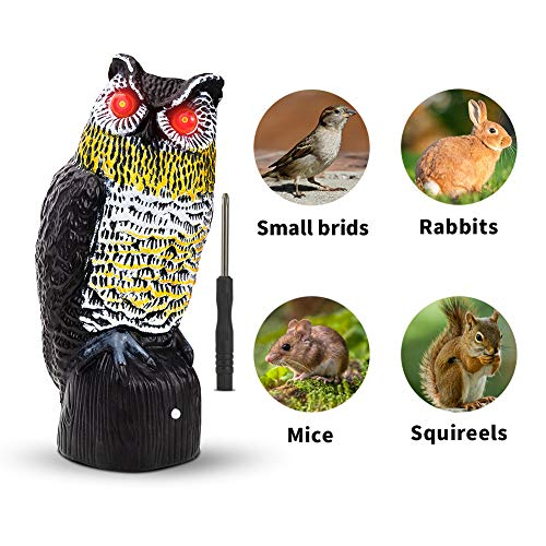 Vensmiles Solar Fake Owl Decoy Bird Repellent for Garden 16 in. Tall Motion Activated Scarecrow Deterrent with Flashing Eyes & Frightening Owl Sound to Scare Pigeon Hawk Woodpecker Away