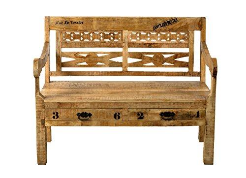 SIT-Möbel Rustic 1920-04 Bank mit 2 Schubladen, 2 Sitzplätze, aus Mangoholz, Antik, braun, Wortprints, 120 x 60 x 95 cm